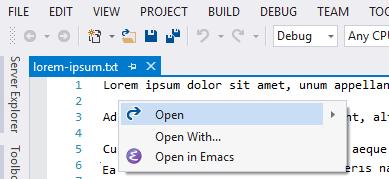 Open in Emacs - Visual Studio Marketplace